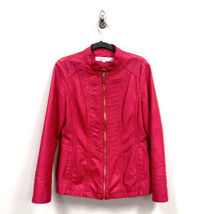Cleo Strawberry Faux Leather Motorcycle Jacket